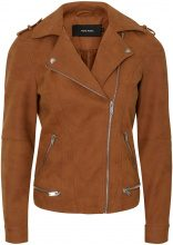 VERO MODA Short Faux Leather Jacket Women Brown