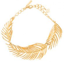 Oscar de la Renta - palm leaf choker necklace - women - Brass/Pewter - OS - YELLOW & ORANGE