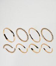 ASOS - Confezione da 8 anelli minimal - Oro