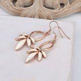 Orecchini goccia e pendenti Placcato oro rosa 18K carati Gioiello di alta qualità Cristallo Cristallo Donna Bianco Narcisse Fiore