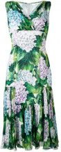 Dolce & Gabbana - hydrangea print pleated dress - women - Silk/Cotton/Polyamide/Spandex/Elastane - 36 - GREEN