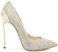 Casadei - Techno Blade glittered pumps - women - Polyester/Kid Leather/Leather - 35, 35.5, 36, 36.5, 37.5, 38.5, 39, 39.5, 40, 40.5, 41 - METALLIC