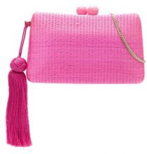 Serpui - straw clutch - women - Straw - OS - PINK & PURPLE