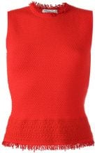 Christian Dior Vintage - sleeveless textured top - women - Polyester/Rayon/Wool - 40 - RED