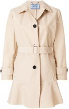 Prada - Cappotto trench con cintura - women - Cotton/Polyester - 40, 42 - NUDE & NEUTRALS