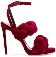 Marco De Vincenzo - The Treccia Sandal - women - Leather/Velvet - 36.5, 37.5, 38.5, 39.5 - RED