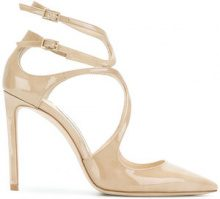 Jimmy Choo - Lancer 100 pumps - women - Patent Leather/Leather - 35,5, 36, 36,5, 37, 37,5, 38, 38,5, 39, 39,5, 40 - Color carne & neutri