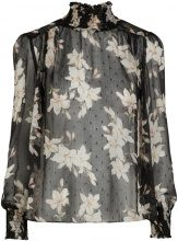 Y.A.S Floral Transparent Blouse Women Black