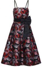 APART Fashion Glamour Lipstickred-Flowers-Fake Leather, Vestito Elegante Donna, Mehrfarbig (Black-Multicolor), 36