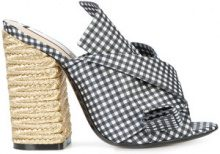 Nº21 - gingham abstract bow mules - women - Leather/Satin - 36, 38, 39, 35, 41 - BLACK