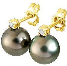 Pearls & Colors Donna 18 carati Oro giallo Rotonda Rotonda Perla di Tahiti coltivata nero Perla FINEEARRING
