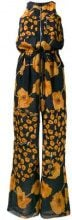 Paul Smith - Tuta con zip e stampa a fiori - women - Silk - 42 - BLUE