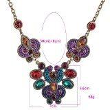 Lureme stile etnico vari colori di cristalli a forma di fiore pendenti collana per le ragazze e le donne (01001436)
