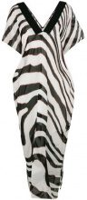 Roberto Cavalli - zebra print beach dress - women - Silk - 40, 42 - BLACK