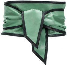 Philosophy Di Lorenzo Serafini - contrast trim sash belt - women - Leather - M - GREEN