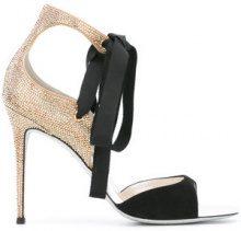 René Caovilla - embellished ribbon sandals - women - Leather/Suede/PVC/rubber - 36.5, 37, 38.5, 40, 39 - BLACK