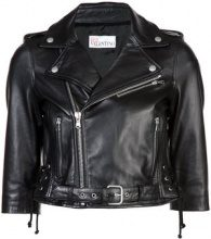 Red Valentino - cropped moto jacket - women - Cotton/Lamb Skin/Viscose - 42, 40, 44, 46 - BLACK