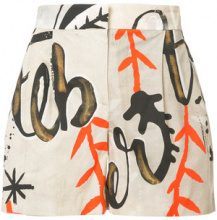 Alberta Ferretti - printed shorts - women - Cotone/other fibers - 38 - Marrone