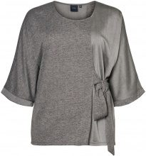 JUNAROSE Tie-belt Detailed 3/4 Sleeved Blouse Women Grey