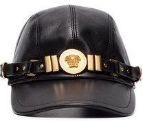 Versace - Cappello con medaglione - women - Lamb Skin/Polyester/metal - 57, 58, 59, 60 - BLACK