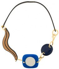 Marni - Collana astratta - women - Resin/metal/Leather/Buffalo Horn - One Size - Blu