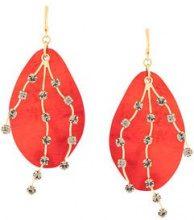 Marni - Orecchini pendenti decorati - women - metal - One Size - RED