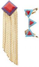 Fendi - Orecchini decorati - women - Brass - One Size - BLUE