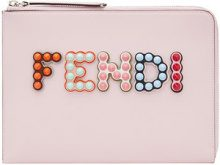Fendi - Clutch con logo - women - Calf Leather/Acrylonitrile Butadiene Styrene (ABS)/Cotton/Acrylic - One Size - PINK & PURPLE