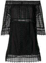 Charo Ruiz - off-shoulder lace detail dress - women - Cotton/Polyester - S, M, L - BLACK