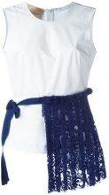 Erika Cavallini - lace trim applique top - women - Cotton/Spandex/Elastane - 42, 44, 46, 48 - WHITE