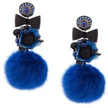 Ranjana Khan - pompom earrings - women - Mink Fur/Leather/Crystal - OS - BLUE