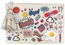 Anya Hindmarch - Pouch 'Georgiana Wink Stickers' - women - Leather - One Size - WHITE