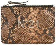 - Nº21 - snakeskin effect clutch - women - Leather - Taglia Unica - Marrone