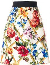 Dolce & Gabbana - floral print A-line skirt - women - Wool/Silk/Spandex/Elastane - 46, 40 - NUDE & NEUTRALS