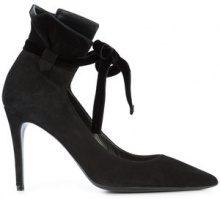 Deimille - tie detail stiletto pumps - women - Leather/Suede - 36.5, 37, 37.5, 38.5 - BLACK