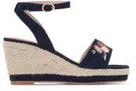 Sandali con la zeppa, tela, pianta larga 38-45