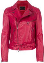 Emporio Armani - Giacca biker - women - Lamb Skin/Polyester/Spandex/Elastane - 42 - RED