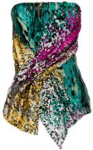 Halpern - sequined twist bustier top - women - Polyester/Spandex/Elastane - 38, 42 - METALLIC