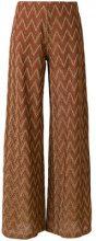 M Missoni - Pantaloni svasati - women - Cotton/Viscose/Metallic Fibre/Polyamide - 38 - BROWN