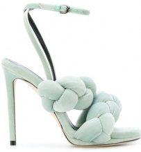 Marco De Vincenzo - The Treccia Sandal - women - Goat Skin/Leather/Polyester - 36.5, 37, 37.5, 38, 38.5, 39, 39.5, 40 - GREEN