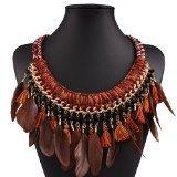Colletto stile corda, da donna, in tessuto etnico, a forma di piuma e cristallo di Boemia, gioielleria realizzata a mano, con nappine e collane