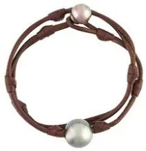 Mignot St Barth - 'St Barth' bracelet - women - Leather/Pearls - M - BROWN