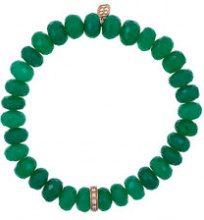 Sydney Evan - Braccialetto con perline e ciondolo a rondella - women - Onyx/Diamond/14kt Rose Gold - OS - GREEN