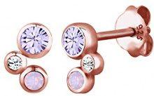 Elli donna in argento Sterling 925, placcato oro rosa, 0312830315 Orecchini con cristalli Swarovski