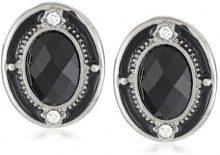 1928 Jewelry, orecchini a bottone, con cristalli colore argento e cristalli ovali sfaccettati di colore nero