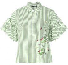 Weekend By Max Mara - striped flare sleeve shirt - women - Cotton - 42, 44 - GREEN