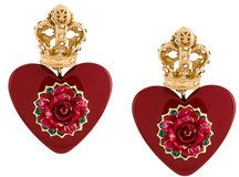 Dolce & Gabbana - Orecchini 'Heart' - women - Crystal/Resin/Brass - OS - RED