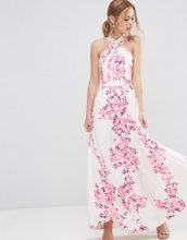 ASOS - Vestito lungo a pieghe con incrocio e motivo floreale