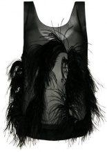 Sonia Rykiel - Top con piume - women - Silk/Ostrich Feather - 42 - Nero