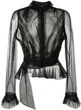 Maison Margiela - Blusa trasparente con ruche - women - Cotton/Polyamide - 42, 44 - BLACK